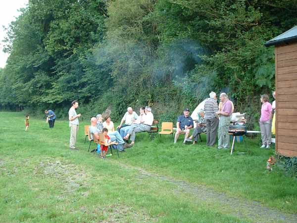 Members and friends enjoying a barbecue at Forder, near Saltash, SE Cornwall on 7th August 2003